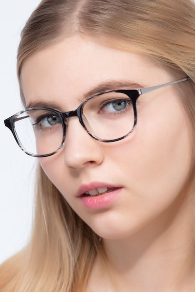 Villa Black striped Metal Eyeglass Frames for Women from EyeBuyDirect