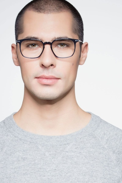 Ghostwriter Navy Metal Eyeglass Frames for Men from EyeBuyDirect, Front View
