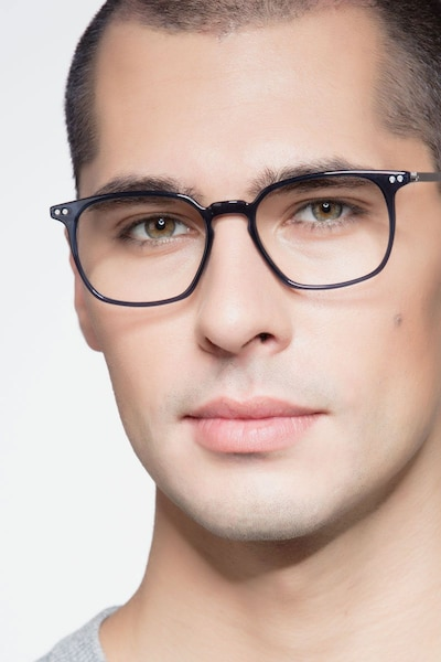 Ghostwriter Navy Metal Eyeglass Frames for Men from EyeBuyDirect