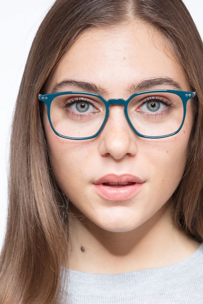 Ghostwriter Teal Metal Eyeglass Frames for Women from EyeBuyDirect, Front View
