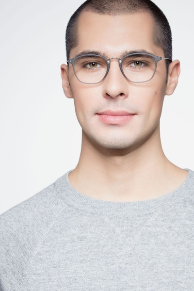 Crave Matte Gray Metal Eyeglass Frames for Men from EyeBuyDirect, Front View