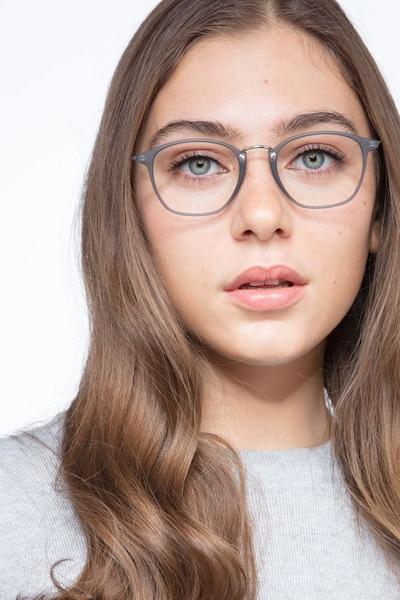 Crave Matte Gray Metal Eyeglass Frames for Women from EyeBuyDirect, Front View