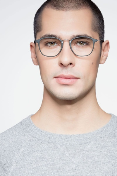 Crave Dark Green Metal Eyeglass Frames for Men from EyeBuyDirect, Front View