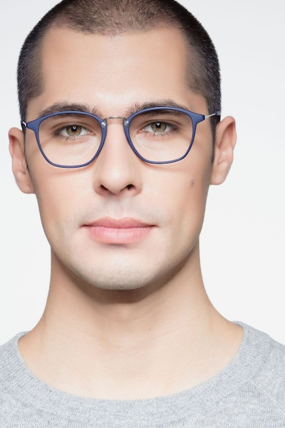 Crave Matte Navy Metal Eyeglass Frames for Men from EyeBuyDirect, Front View