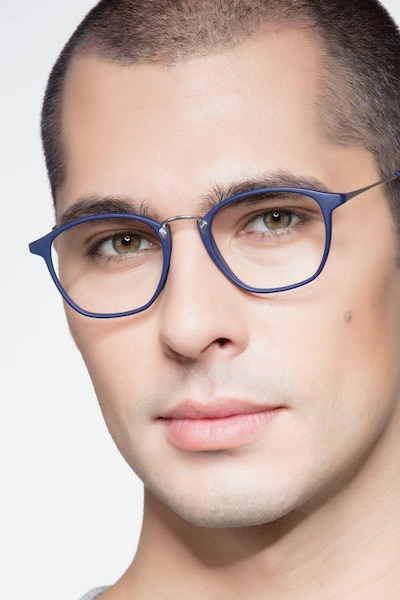 Crave Matte Navy Metal Eyeglass Frames for Men from EyeBuyDirect