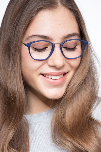 Crave Matte Navy Metal Eyeglass Frames for Women from EyeBuyDirect, Front View