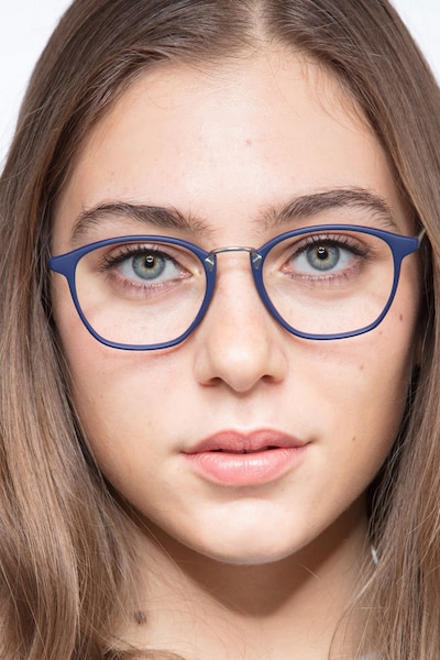 Crave Matte Navy Metal Eyeglass Frames for Women from EyeBuyDirect