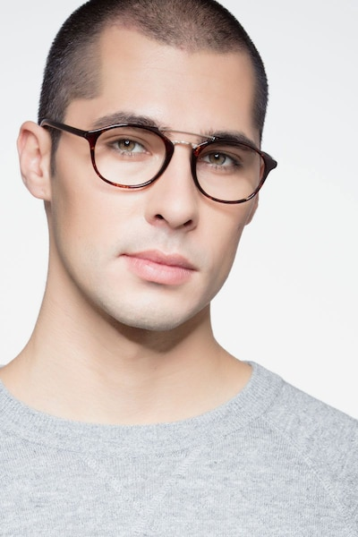 Lola Tortoise  Metal Eyeglass Frames for Men from EyeBuyDirect, Front View