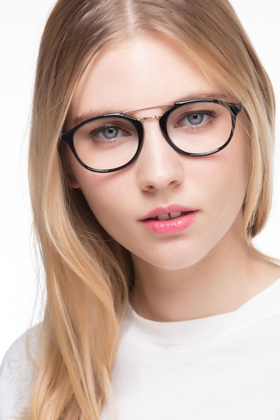 Lola Black Metal Eyeglass Frames for Women from EyeBuyDirect, Front View
