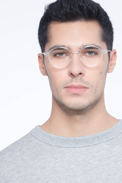 Hijinks Clear Metal Eyeglass Frames for Men from EyeBuyDirect, Front View