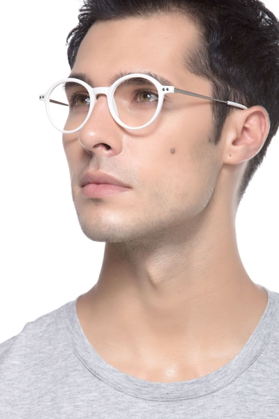 Hijinks White Metal Eyeglass Frames for Men from EyeBuyDirect, Front View