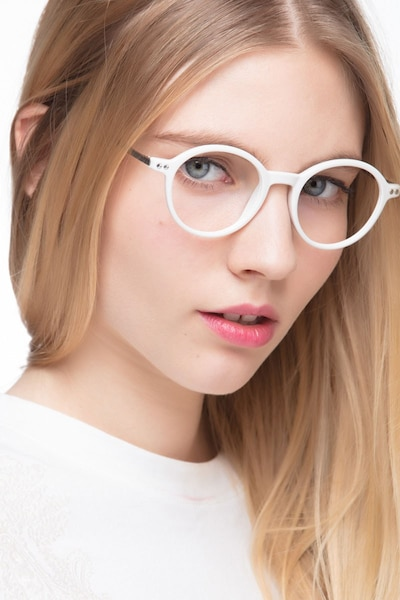 Hijinks White Metal Eyeglass Frames for Women from EyeBuyDirect, Front View