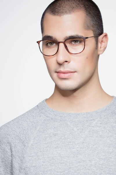 Strike Matte Tortoise Metal Eyeglass Frames for Men from EyeBuyDirect, Front View