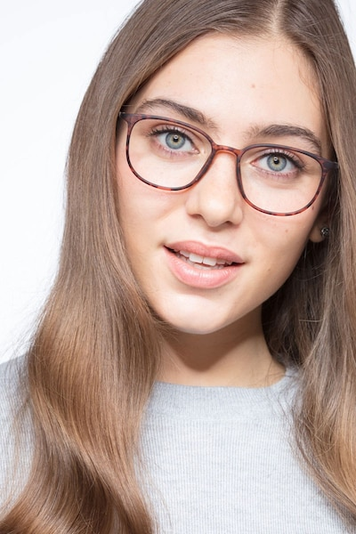 Strike Matte Tortoise Metal Eyeglass Frames for Women from EyeBuyDirect, Front View