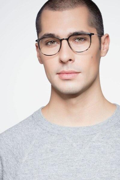 Strike Black striped Metal Eyeglass Frames for Men from EyeBuyDirect