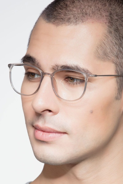 Strike Clear Gray Metal Eyeglass Frames for Men from EyeBuyDirect
