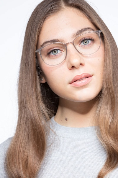 Strike Clear Gray Metal Eyeglass Frames for Women from EyeBuyDirect, Front View