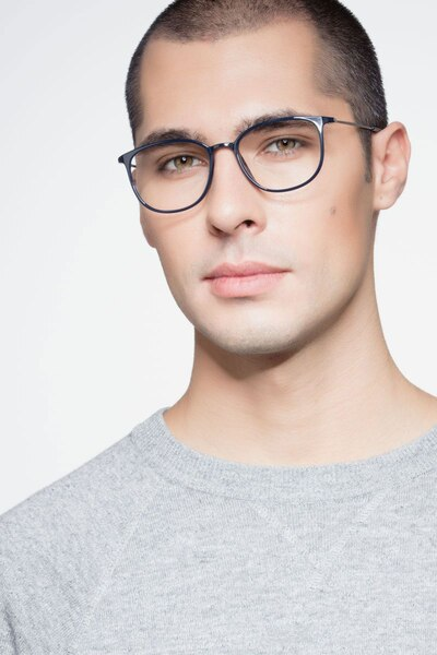 Strike Navy Metal Eyeglass Frames for Men from EyeBuyDirect