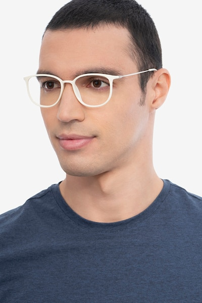 Strike white Metal Eyeglass Frames for Men from EyeBuyDirect, Front View