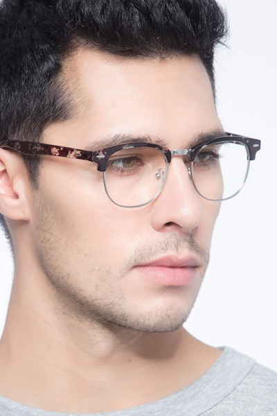 Roots Floral Metal Eyeglass Frames for Men from EyeBuyDirect, Front View
