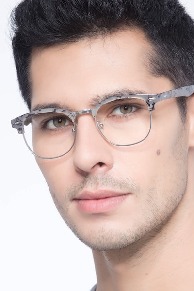 Roots Speckled Gray Metal Eyeglass Frames for Men from EyeBuyDirect