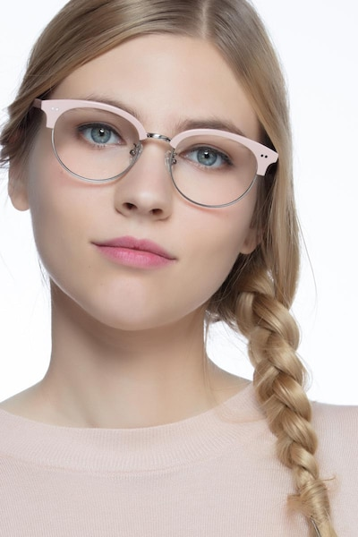 Annabel Pink Acetate Eyeglass Frames for Women from EyeBuyDirect, Front View
