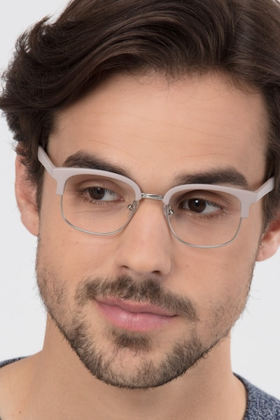 Yokote Gray Metal Eyeglass Frames for Men from EyeBuyDirect