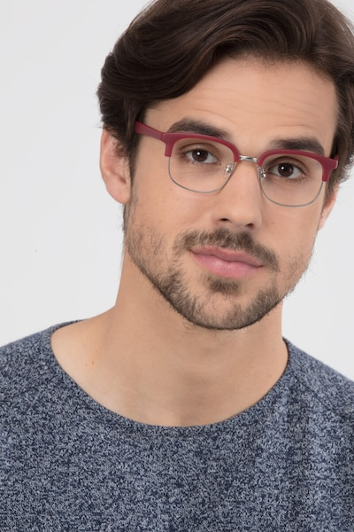 Yokote Matte Burgundy Metal Eyeglass Frames for Men from EyeBuyDirect