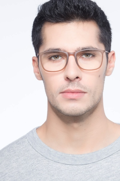 Hurricane Matte Cinnamon Metal Eyeglass Frames for Men from EyeBuyDirect, Front View