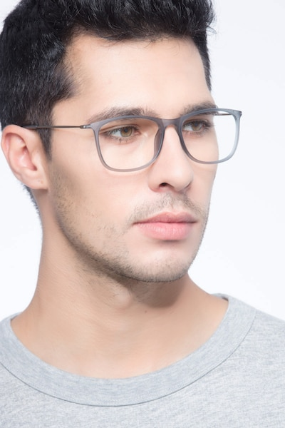Hurricane Matte Gray Metal Eyeglass Frames for Men from EyeBuyDirect, Front View