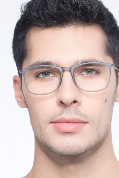 Hurricane Matte Gray Metal Eyeglass Frames for Men from EyeBuyDirect