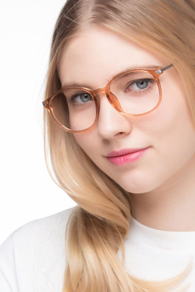 Lindsey Clear Orange Plastic-metal Eyeglass Frames for Women from EyeBuyDirect, Front View