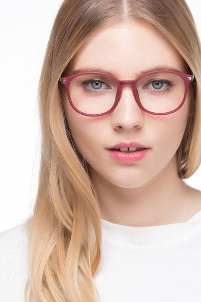 Lindsey Burgundy Metal Eyeglass Frames for Women from EyeBuyDirect