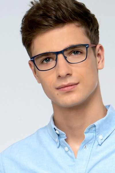 Comity Navy Metal Eyeglass Frames for Men from EyeBuyDirect, Front View