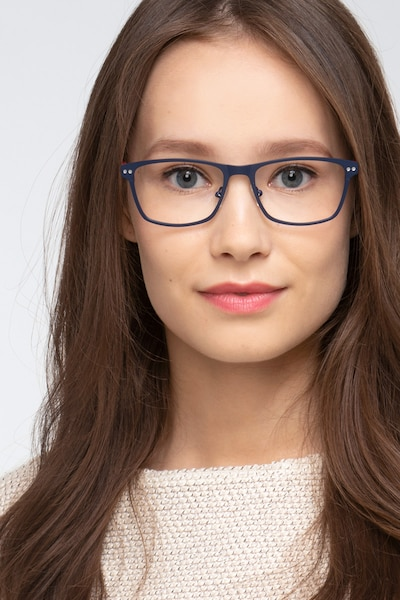 Comity Navy Metal Eyeglass Frames for Women from EyeBuyDirect