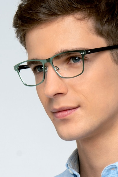Comity Light Green Acetate-metal Eyeglass Frames for Men from EyeBuyDirect