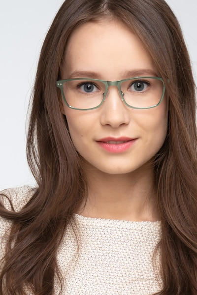 Comity Light Green Acetate-metal Eyeglass Frames for Women from EyeBuyDirect, Front View