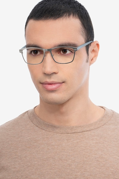 Comity Silver Acetate-metal Eyeglass Frames for Men from EyeBuyDirect, Front View