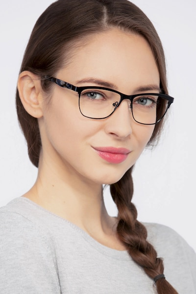 Volary Black Acetate Eyeglass Frames for Women from EyeBuyDirect, Front View