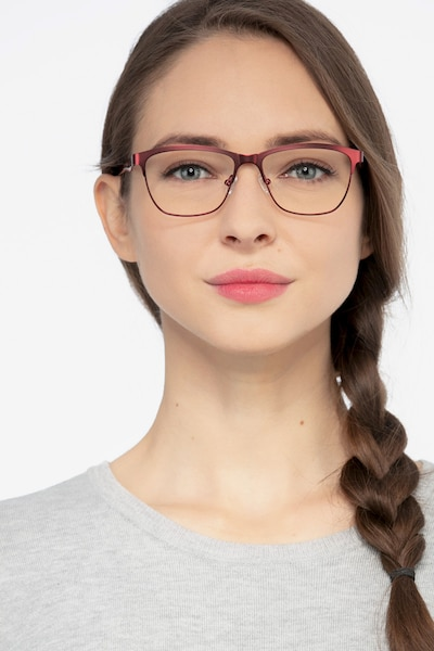 Volary Red Acetate Eyeglass Frames for Women from EyeBuyDirect, Front View