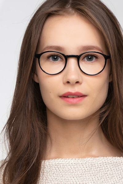 Anomaly Black Acetate Eyeglass Frames for Women from EyeBuyDirect, Front View