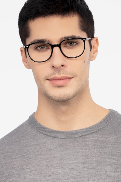 Eros Black Acetate Eyeglass Frames for Men from EyeBuyDirect, Front View