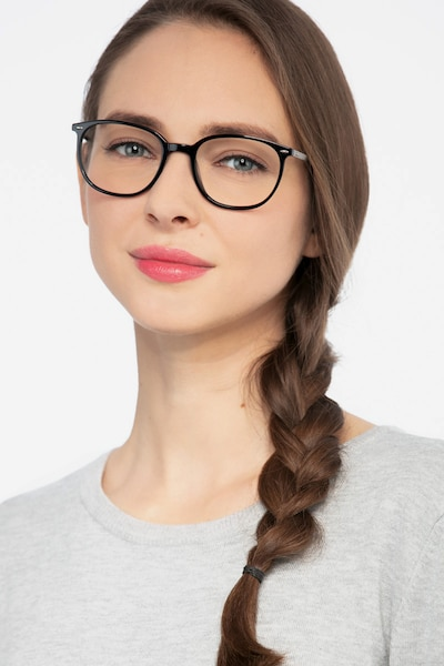 Eros Black Metal Eyeglass Frames for Women from EyeBuyDirect, Front View