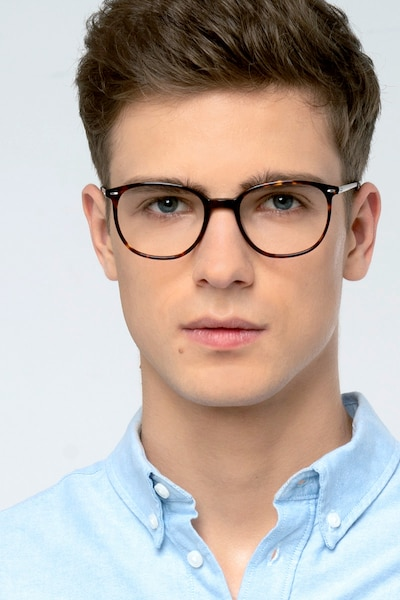 Eros Tortoise Acetate Eyeglass Frames for Men from EyeBuyDirect, Front View