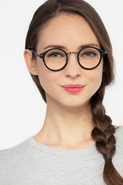 Roto Black Acetate Eyeglass Frames for Women from EyeBuyDirect, Front View