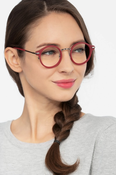 Roto Red Acetate Eyeglass Frames for Women from EyeBuyDirect, Front View