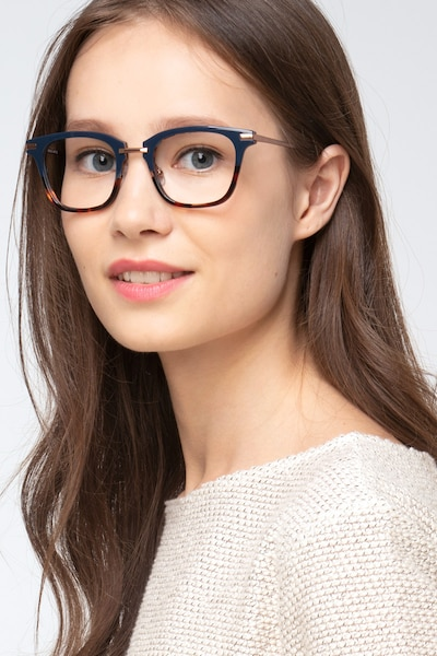 Candela Blue Floral Metal Eyeglass Frames for Women from EyeBuyDirect, Front View