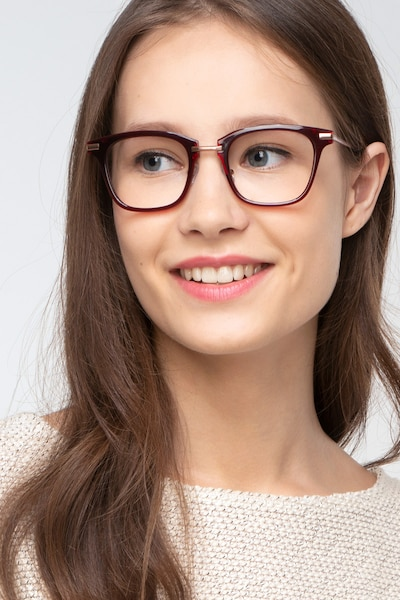 Candela Burgundy Acetate-metal Eyeglass Frames for Women from EyeBuyDirect