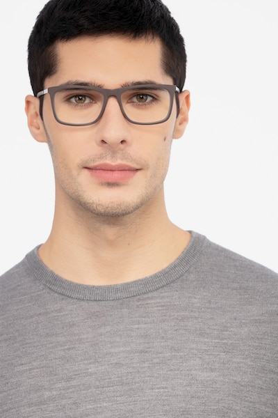 Instance Brown Metal Eyeglass Frames for Men from EyeBuyDirect, Front View
