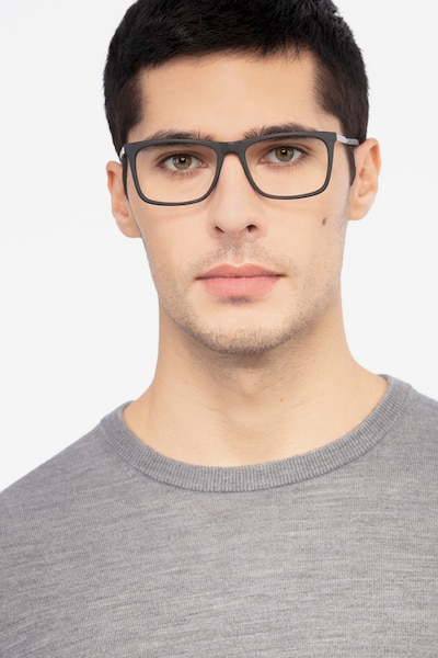 Instance Black Acetate Eyeglass Frames for Men from EyeBuyDirect, Front View